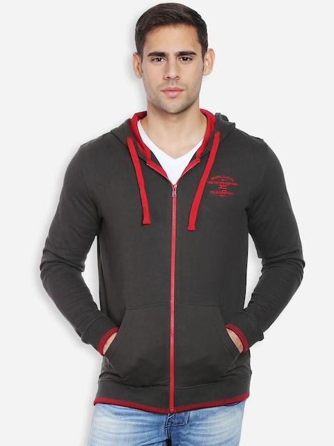 Peter England Men Anthracite Black Hooded Sweatshirt