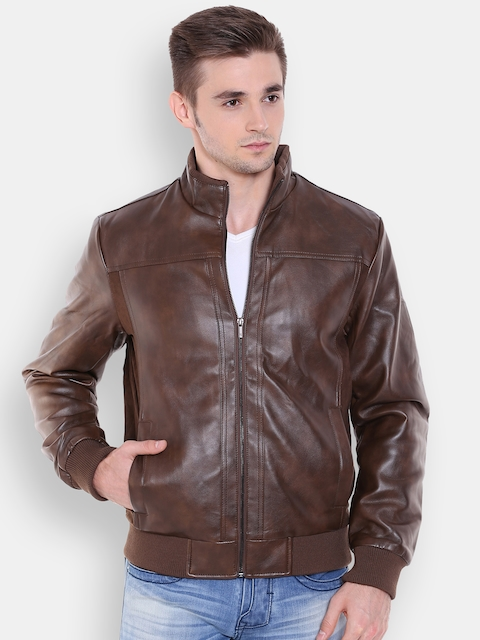Peter England Casuals Brown Bomber Jacket