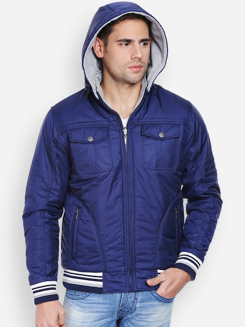 Peter England Casuals Blue & Grey Reversible Hooded Jacket