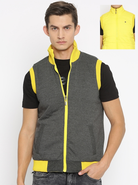 Peter England Casuals Yellow & Charcoal Grey Reversible Padded Sleeveless Jacket