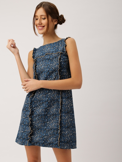 DressBerry Women Blue Printed A-Line Dress  available at myntra for Rs.449