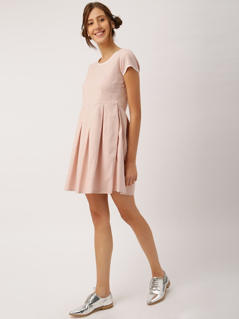 DressBerry Women Dusty Pink Self-Design Fit & Flare Dress  available at myntra for Rs.449