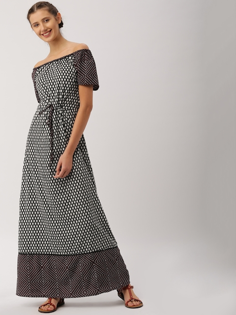 DressBerry Women Black & White Printed Off-Shoulder Maxi Dress  available at myntra for Rs.449