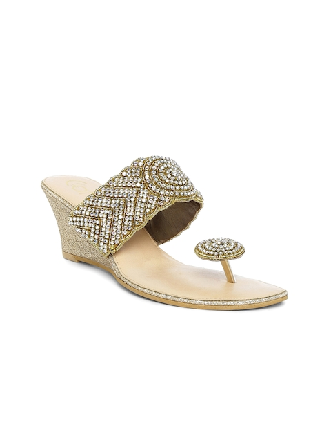 Catwalk Women Gold-Toned Solid Wegdes