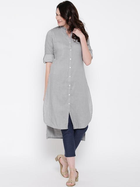 Biba Women Grey Self-Striped Straight High-Low Kurta