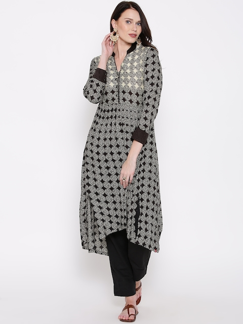 Biba Women Black & Beige Printed Straight Kurta