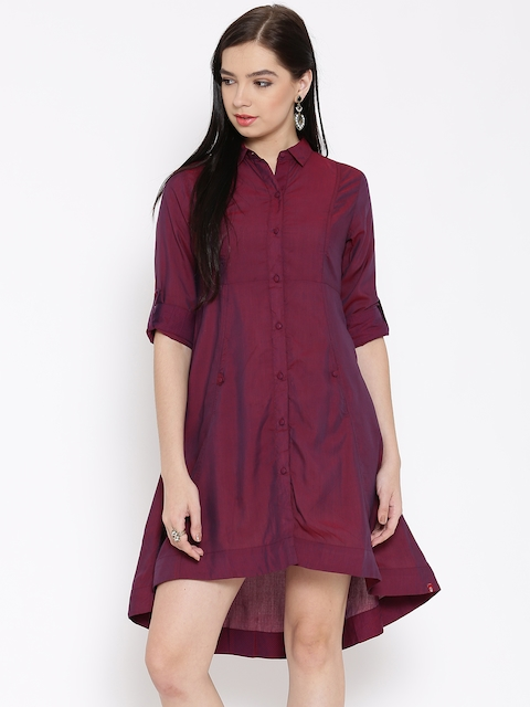 Biba Women Maroon Dual-Toned Solid Shirt Dress