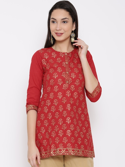 Biba Red Printed Kurti  available at myntra for Rs.399