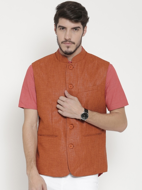 F-Factor by Pantaloons Rust Orange Patterned Slim Nehru Jacket