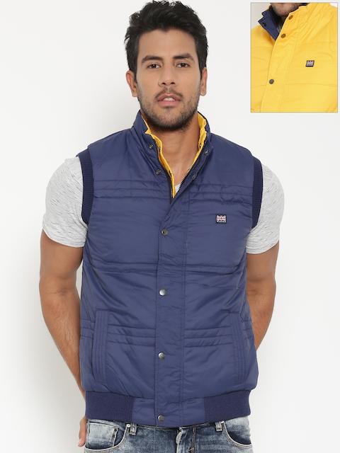 BYFORD by Pantaloons Navy & Yellow Reversible Sleeveless Bomber Jacket
