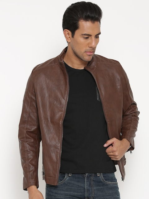 Fort Collins Coffee Brown Faux Leather Biker Jacket