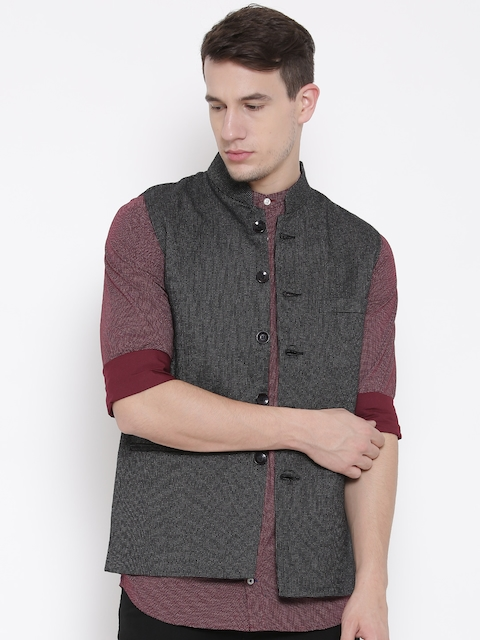 Fort Collins Black Patterned Nehru Jacket