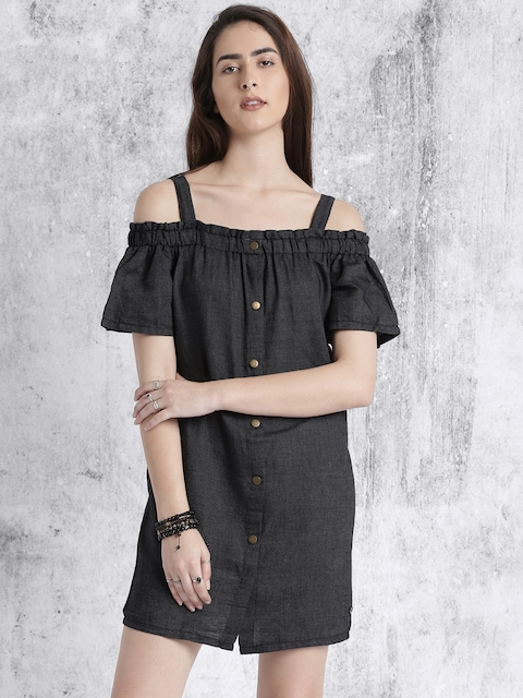 Roadster Women Black Solid Denim Cold Shoulder A-Line Dress