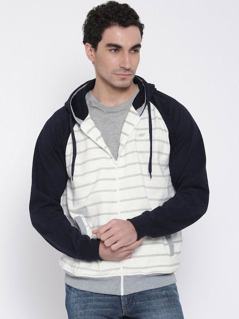 Monte Carlo White & Navy Striped Hooded Sweatshirt