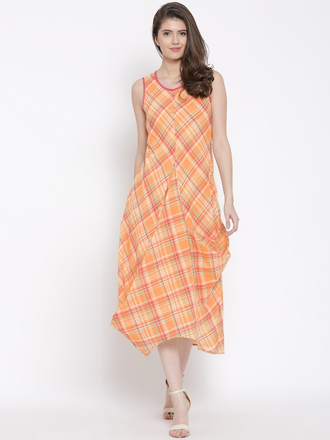 Biba Women Orange Checked A-Line Dress