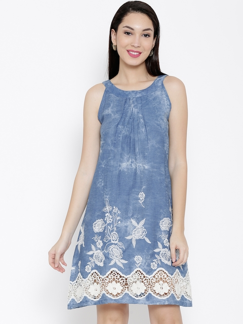 Biba Women Blue Lace Denim A-Line Dress