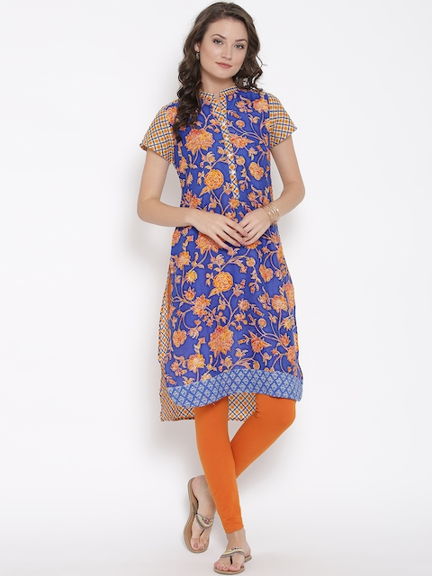Biba Women Blue & Orange Printed Straight Kurta