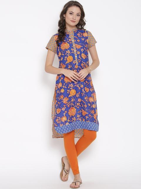Biba Women Blue & Orange Printed Straight Kurta