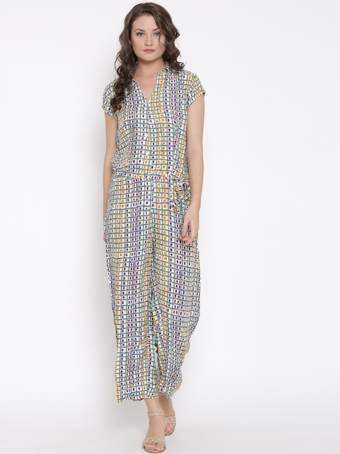 Biba Off-White & Blue Printed Jumpsuit