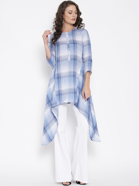 Biba Women Blue Woven Design A-Line Kurta
