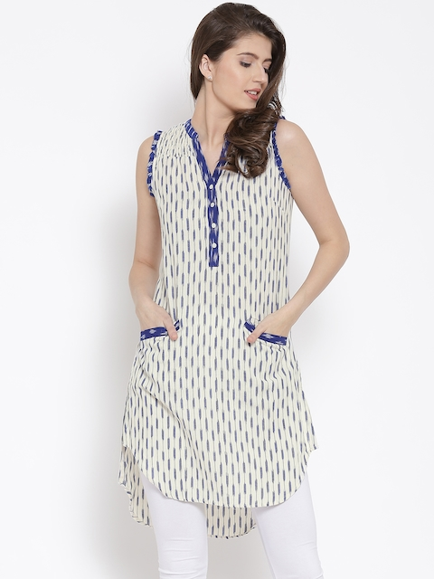 Biba Women Off-White & Blue Printed Straight Kurta