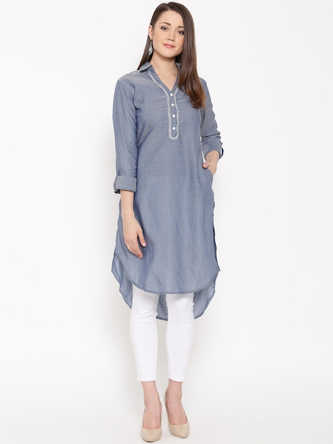 Biba Women Blue Woven Design Straight Kurta