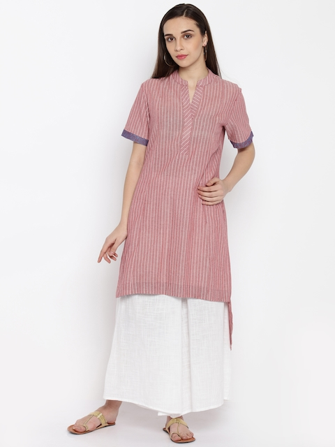 Biba Women Red Woven Design A-Line Kurta