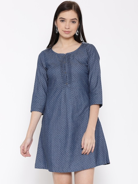 Biba Women Blue Self-Design A-line Denim Dress
