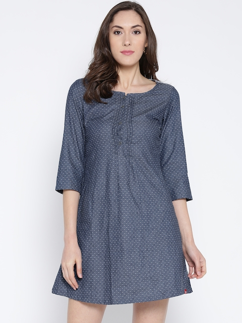 Biba Women Blue Self-Design Denim A-Line Dress