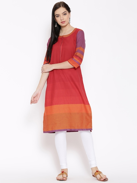 Biba Women Red Woven Design Straight Kurta