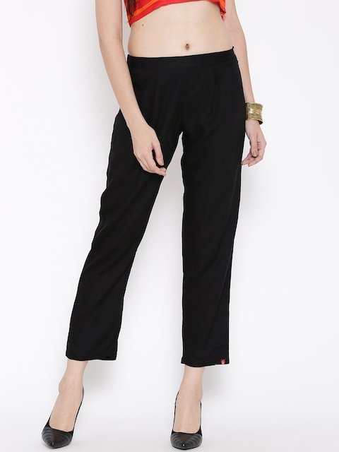 Biba Women Black Solid Flat-Front Trousers