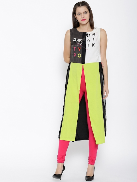 W Women Lime Green Printed High Slit Maxi Top
