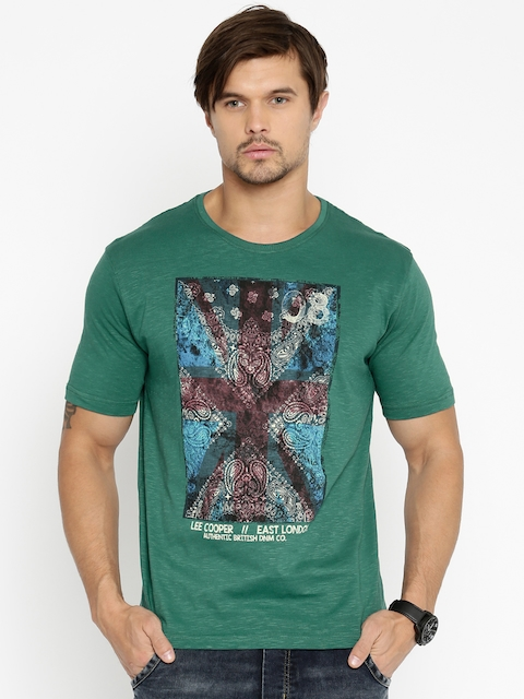 Lee Cooper Men Green Printed T-shirt