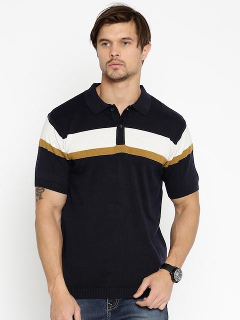 Lee Cooper Men Navy Striped Polo T-shirt