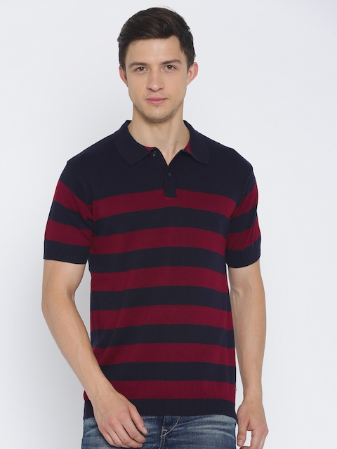Lee Cooper Navy Blue & Maroon Striped Polo Collar T-shirt