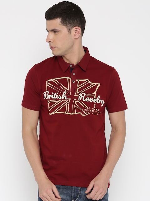 Lee Cooper Red Printed Polo Collar T-shirt