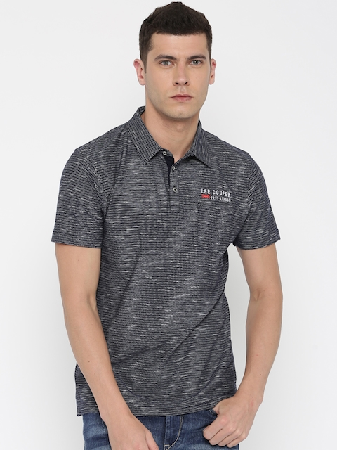 Lee Cooper Blue Striped Polo Collar T-shirt