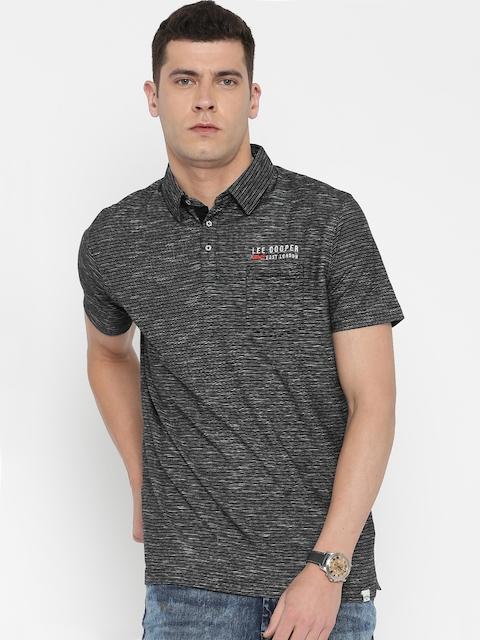 Lee Cooper Men Black Striped Polo Collar T-shirt