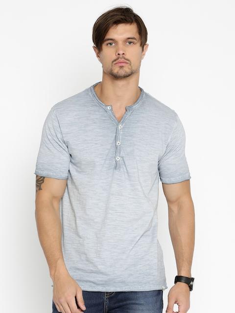 Lee Cooper Men Blue Henley Faded T-shirt