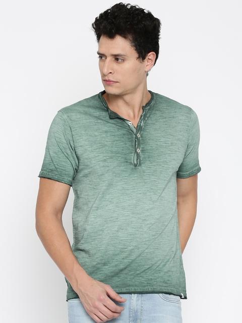 Lee Cooper Men Green Washed Henley Neck T-shirt