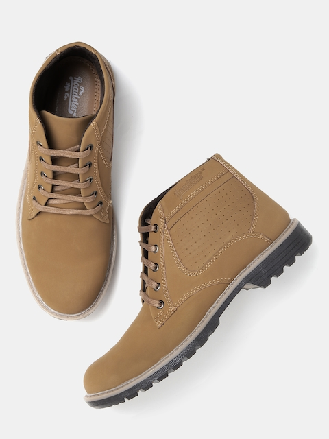 Roadster Men Brown Solid Mid-Top Derbys  available at myntra for Rs.559