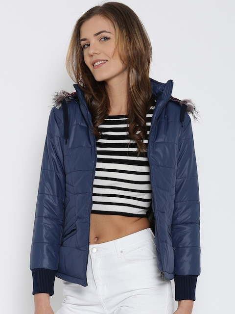 Fort Collins Navy Quilted Parka Jacket with Detachable Hood