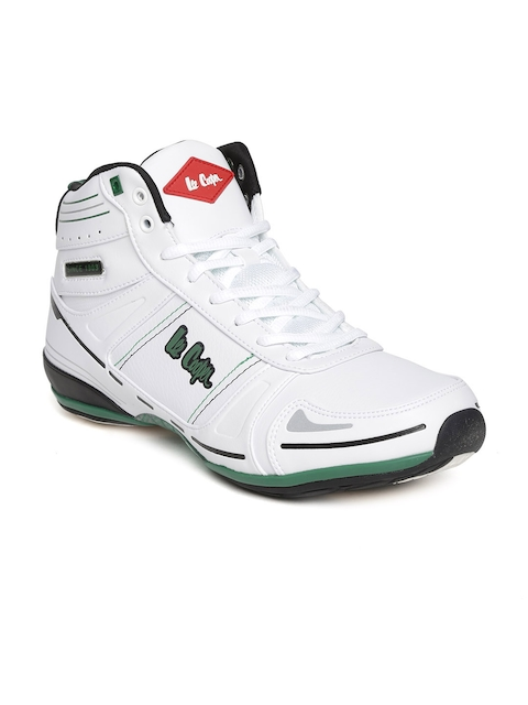 Lee Cooper Men White Solid Mid-Top Sneakers