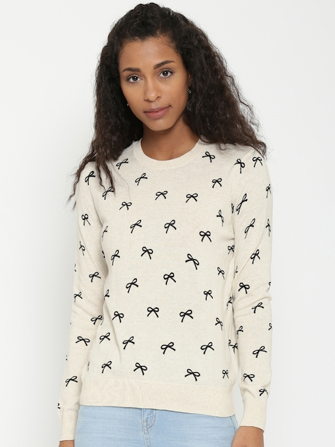 FOREVER 21 Women Beige Printed Sweater