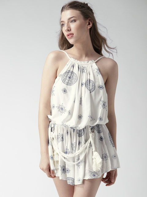 FOREVER 21 White Printed Playsuit