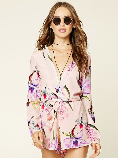 FOREVER 21 Pink Floral Print Playsuit