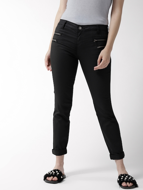 FOREVER 21 Women Black Mid-Rise Clean Look Jeans