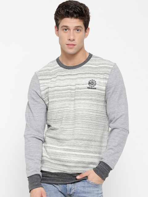 Reebok Classic Off-White & Grey Melange F CLASTRCRSTCRW Striped Sweatshirt