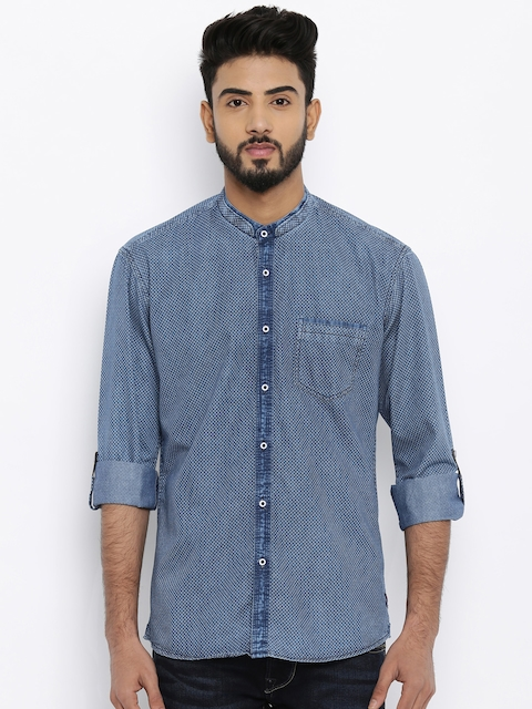 Killer Men Blue Regular Fit Faded Casual Shirt