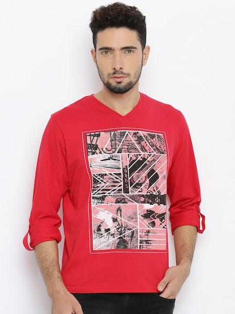 Killer Men Red Printed V-Neck T-Shirt